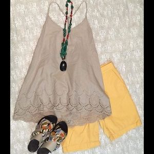 Ann Taylor Loft Yellow Bermuda Shorts, size 4